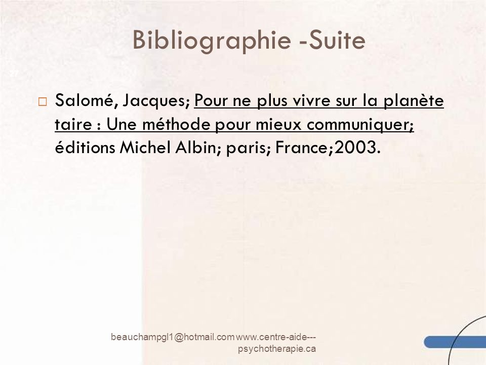 Bibliographie -Suite
