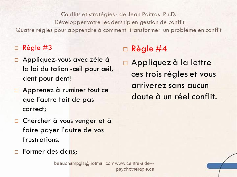 Conflits et stratégies : de Jean Poitras Ph. D