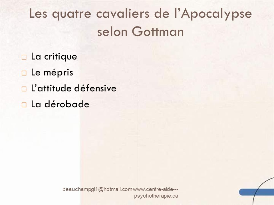 Les quatre cavaliers de l'Apocalypse selon Gottman