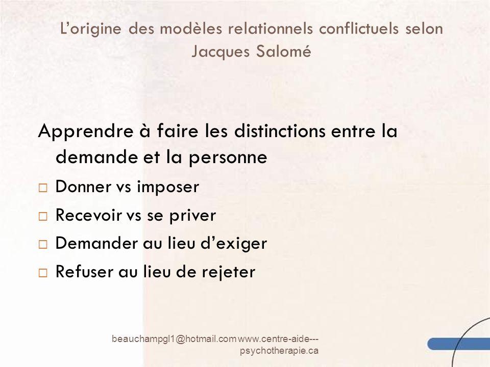 L'origine des modèles relationnels conflictuels selon Jacques Salomé