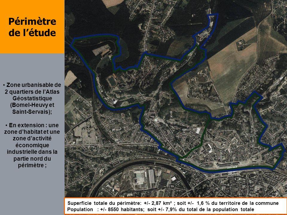 Périmètre de l'étudeZone urbanisable de 2 quartiers de l'Atlas Géostatistique (Bomel-Heuvy et Saint-Servais);