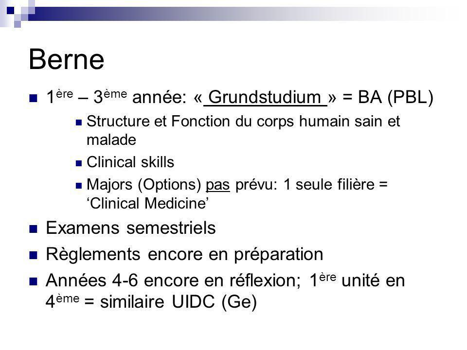 Berne 1ère – 3ème année: « Grundstudium » = BA (PBL)