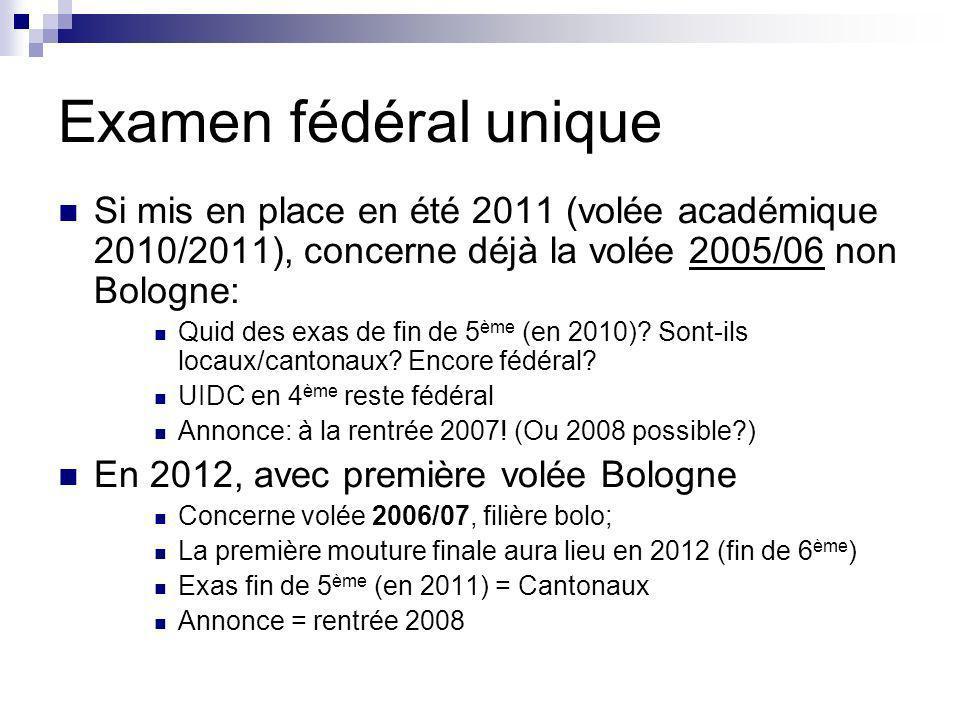 Examen fédéral unique Si mis en place en été 2011 (volée académique 2010/2011), concerne déjà la volée 2005/06 non Bologne: