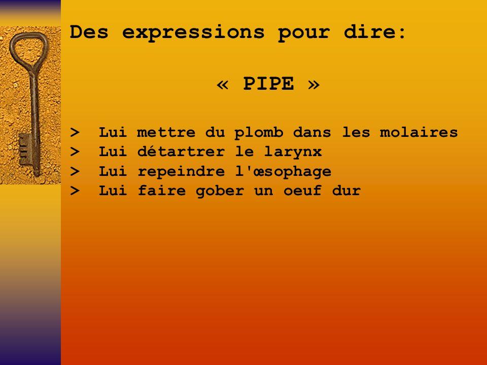 Des expressions pour dire: « PIPE »