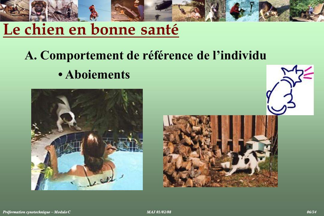 Le chien en bonne santé A. Comportement de référence de l'individu