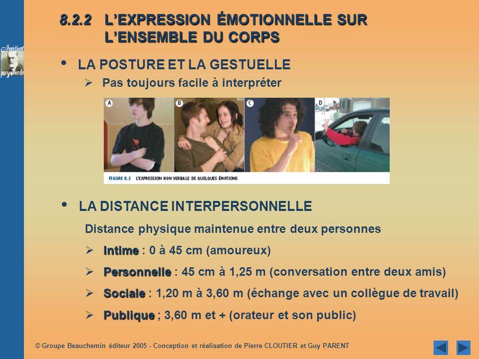8.2.2 L'EXPRESSION ÉMOTIONNELLE SUR L'ENSEMBLE DU CORPS