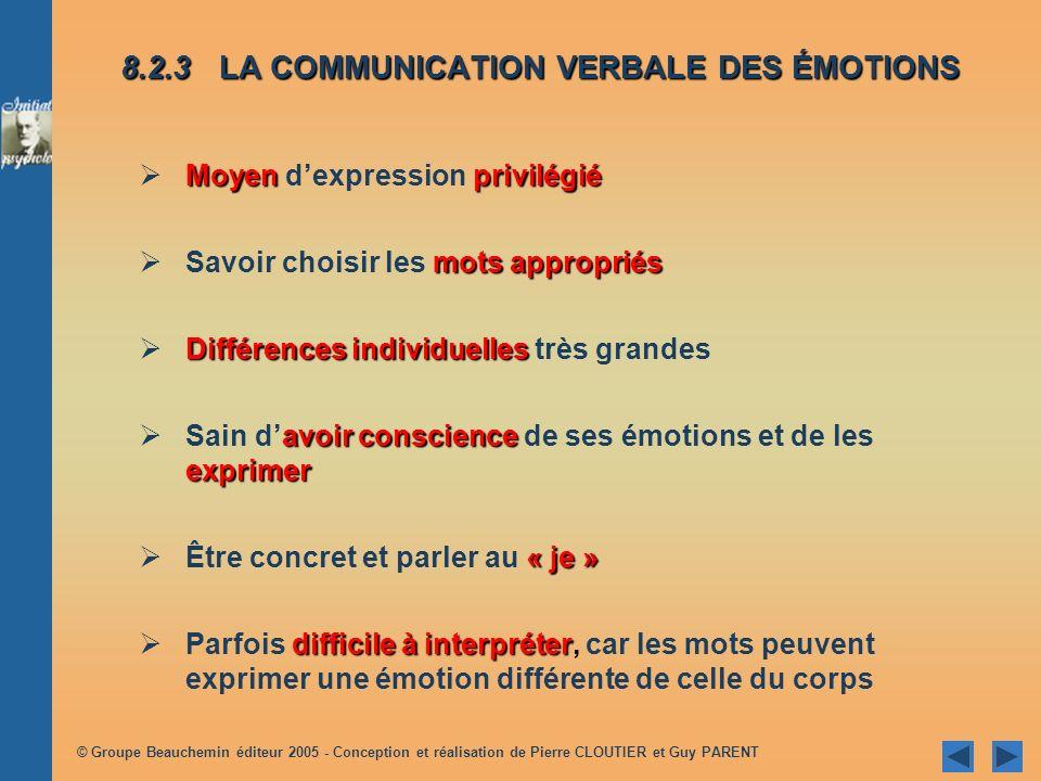 8.2.3 LA COMMUNICATION VERBALE DES ÉMOTIONS