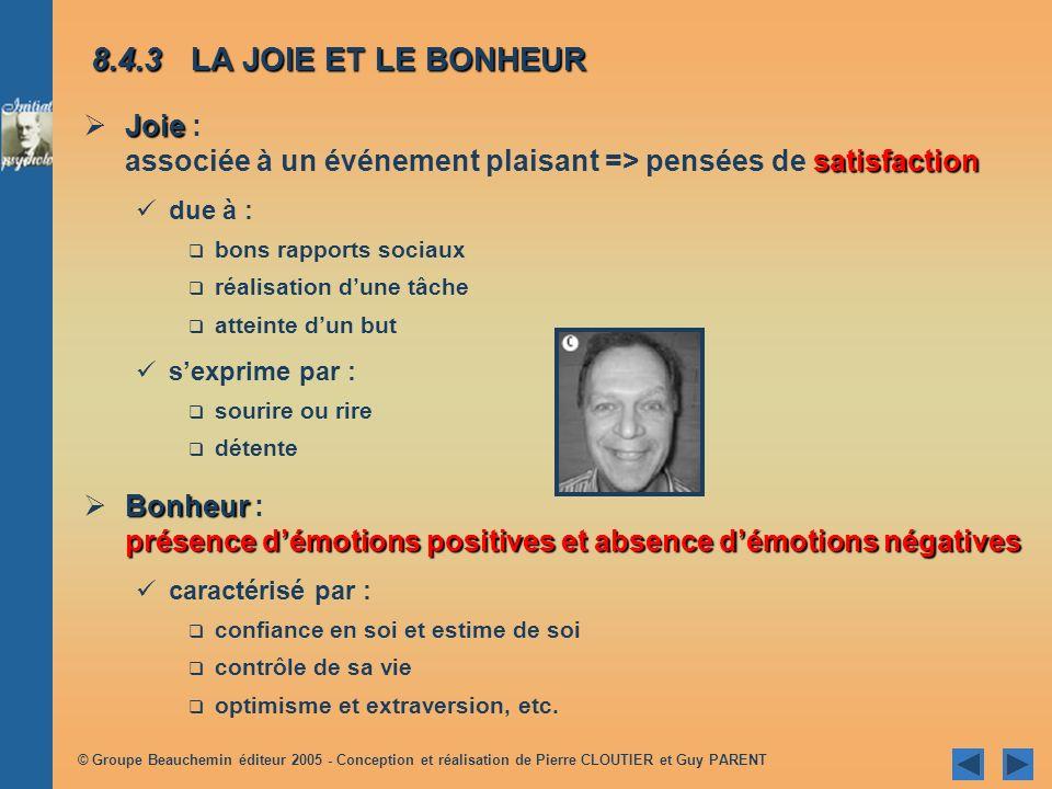 8.4.3 LA JOIE ET LE BONHEUR Joie : associée à un événement plaisant => pensées de satisfaction. due à :