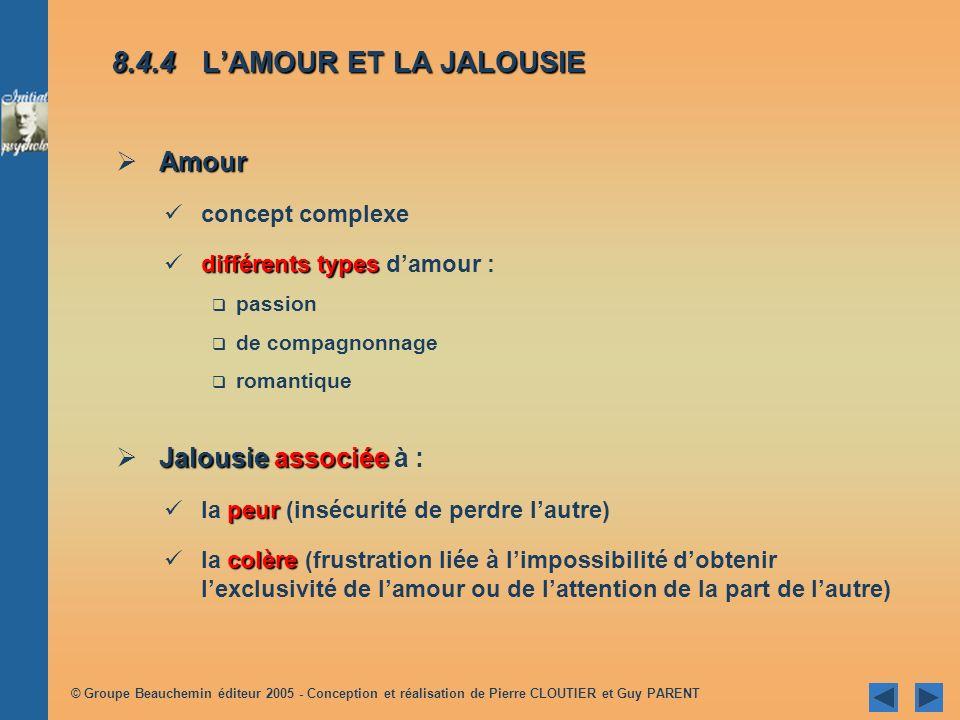 8.4.4 L'AMOUR ET LA JALOUSIE Amour Jalousie associée à :