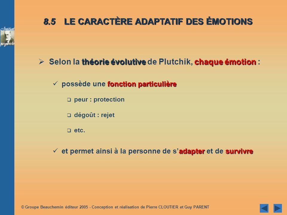 8.5 LE CARACTÈRE ADAPTATIF DES ÉMOTIONS
