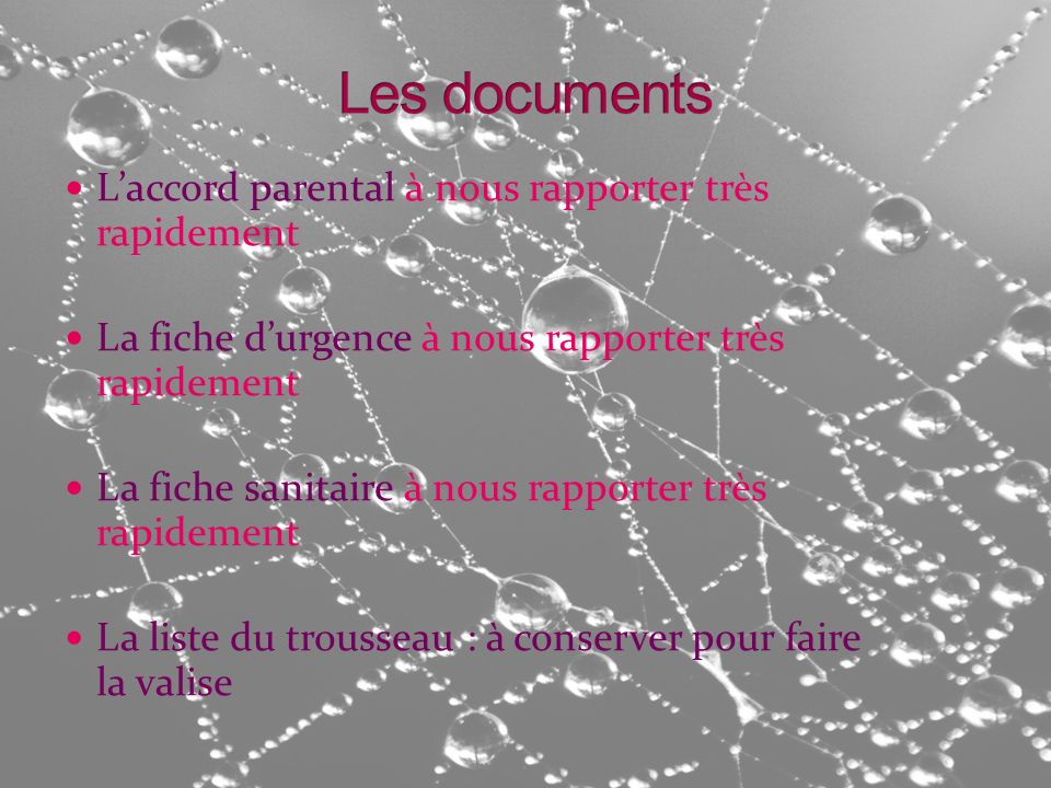 Les documents L'accord parental à nous rapporter très rapidement