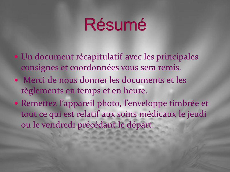 Résumé Un document récapitulatif avec les principales consignes et coordonnées vous sera remis.