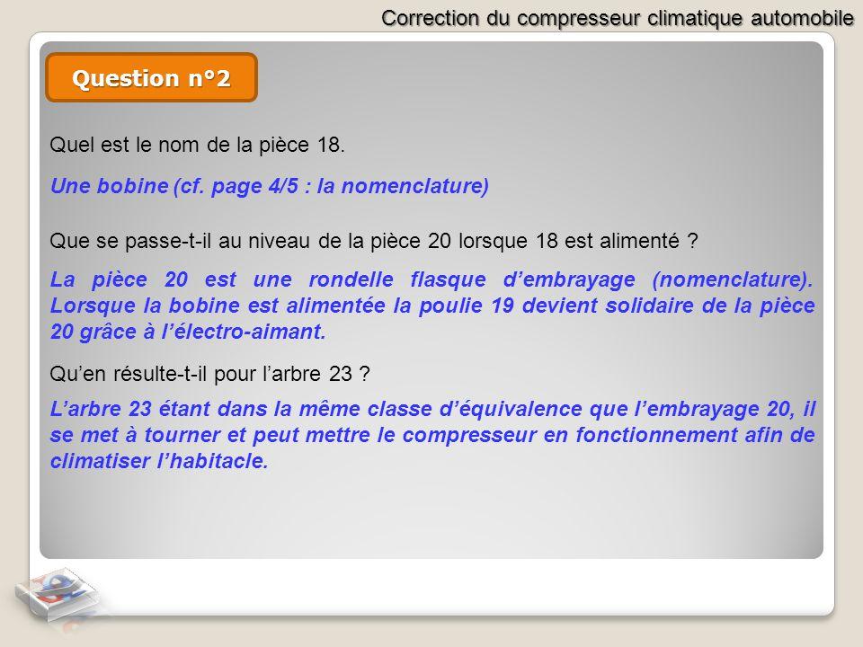 Question n°2Quel est le nom de la pièce 18. Une bobine (cf. page 4/5 : la nomenclature)