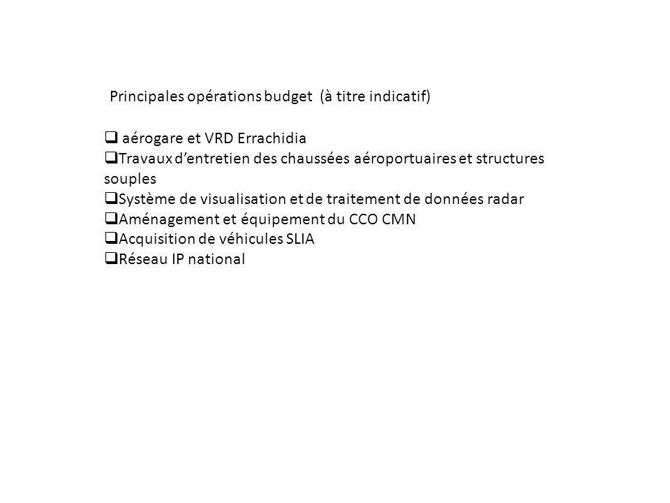 Principales opérations budget (à titre indicatif)