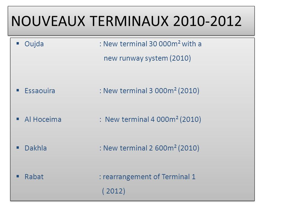 NOUVEAUX TERMINAUX 2010-2012 Oujda : New terminal 30 000m² with a