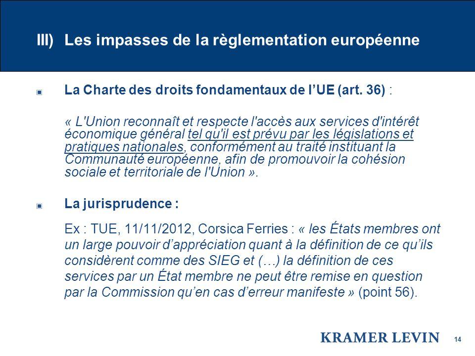 III) Les impasses de la règlementation européenne