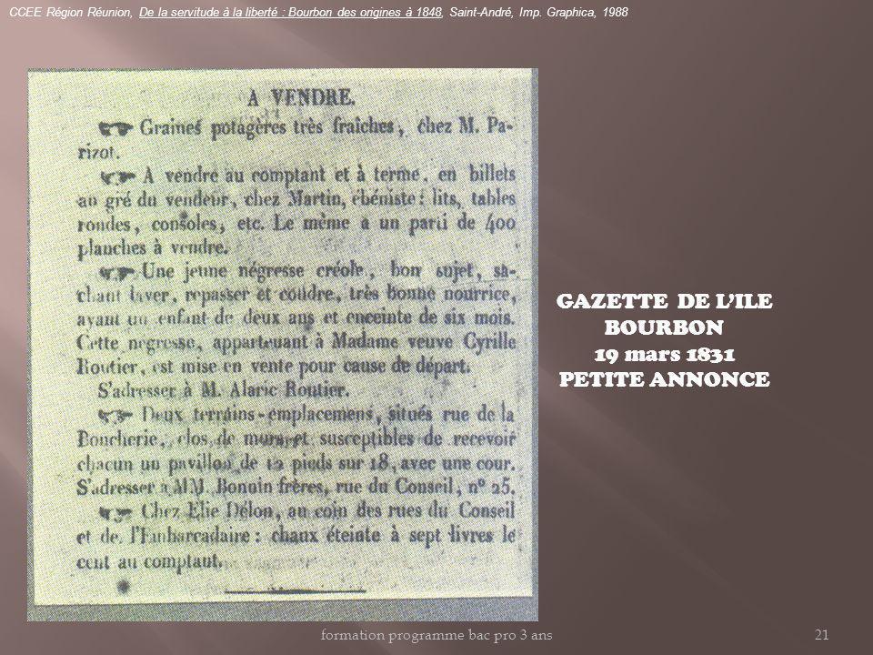 GAZETTE DE L'ILE BOURBON 19 mars 1831 PETITE ANNONCE