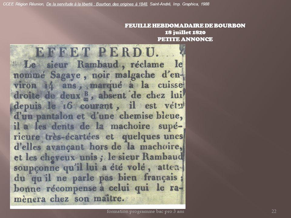FEUILLE HEBDOMADAIRE DE BOURBON 18 juillet 1820 PETITE ANNONCE