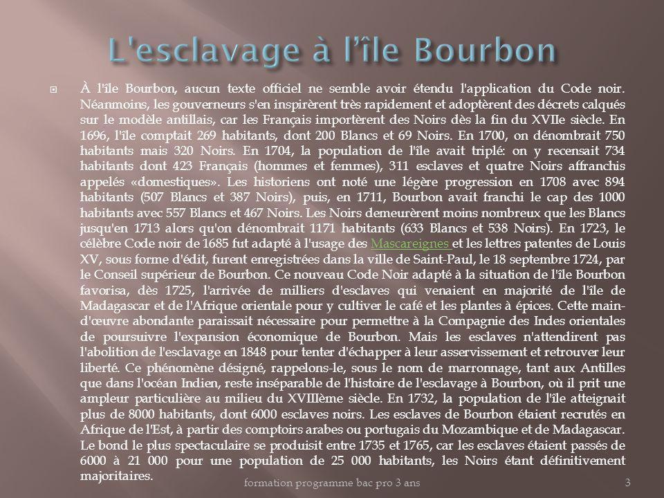 L esclavage à l'île Bourbon