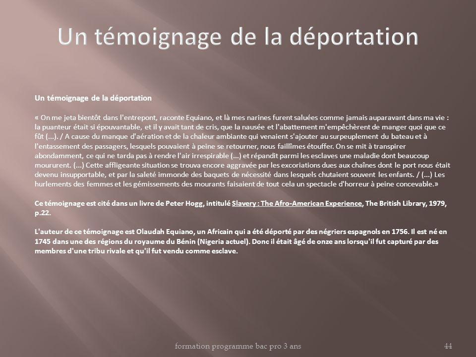 Un témoignage de la déportation