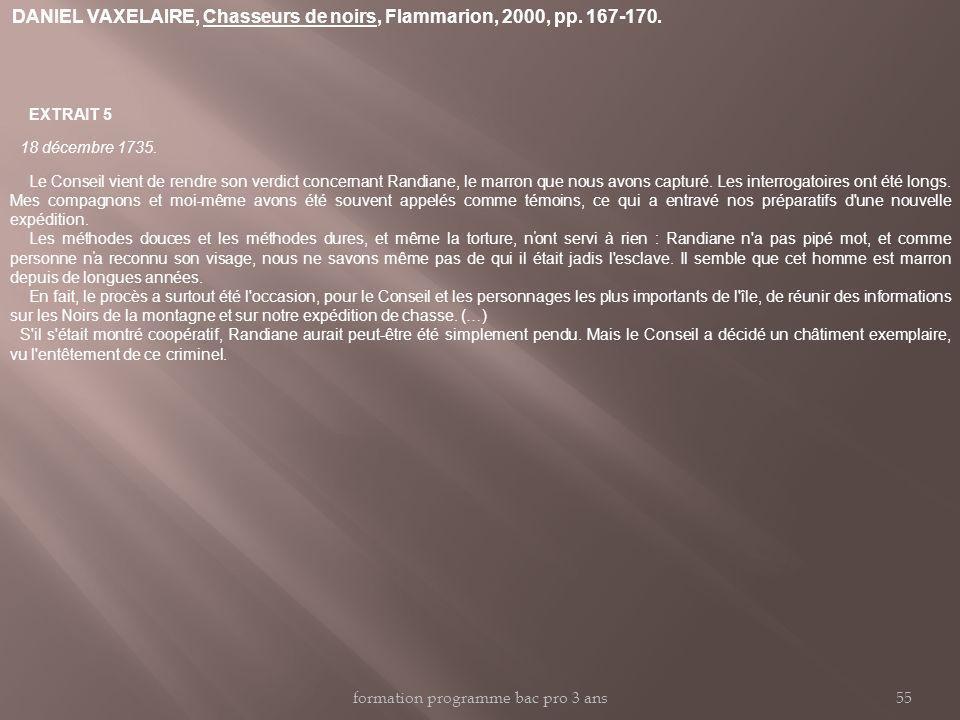 DANIEL VAXELAIRE, Chasseurs de noirs, Flammarion, 2000, pp. 167-170.