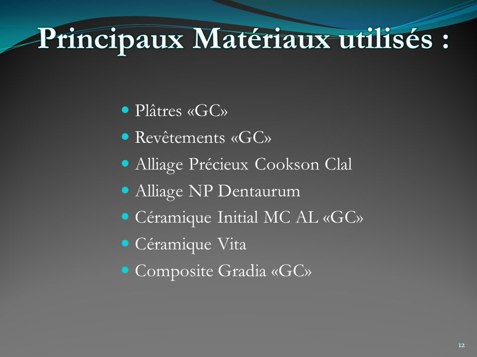 Principaux Matériaux utilisés :