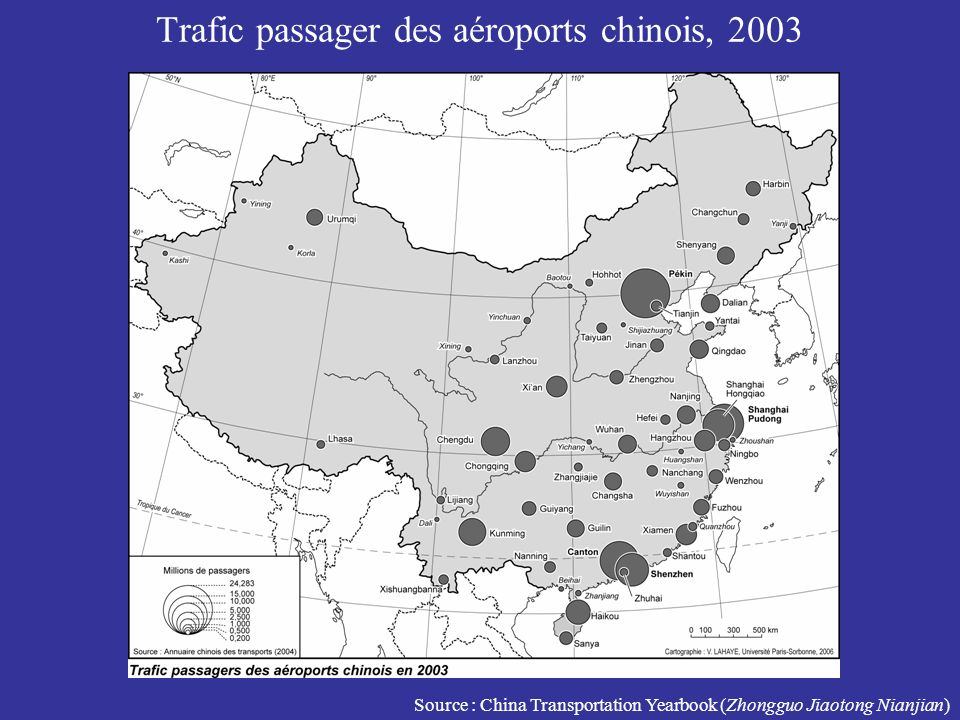 Trafic passager des aéroports chinois, 2003