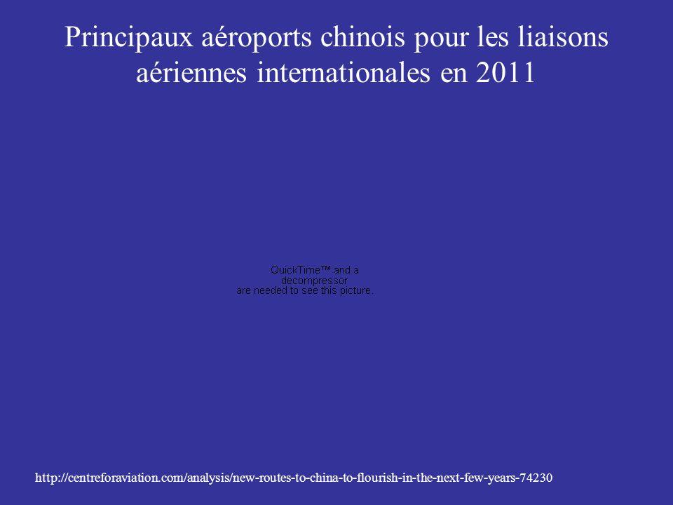 Principaux aéroports chinois pour les liaisons aériennes internationales en 2011