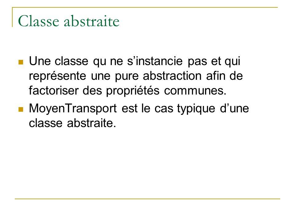 Classe abstraite Une classe qu ne s'instancie pas et qui représente une pure abstraction afin de factoriser des propriétés communes.
