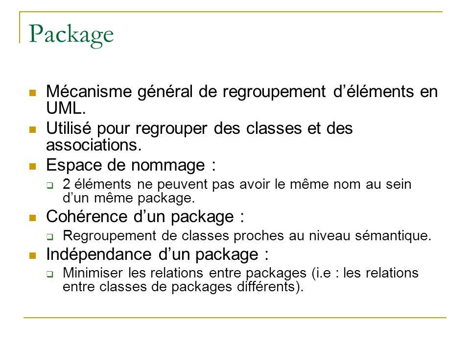 Package Mécanisme général de regroupement d'éléments en UML.