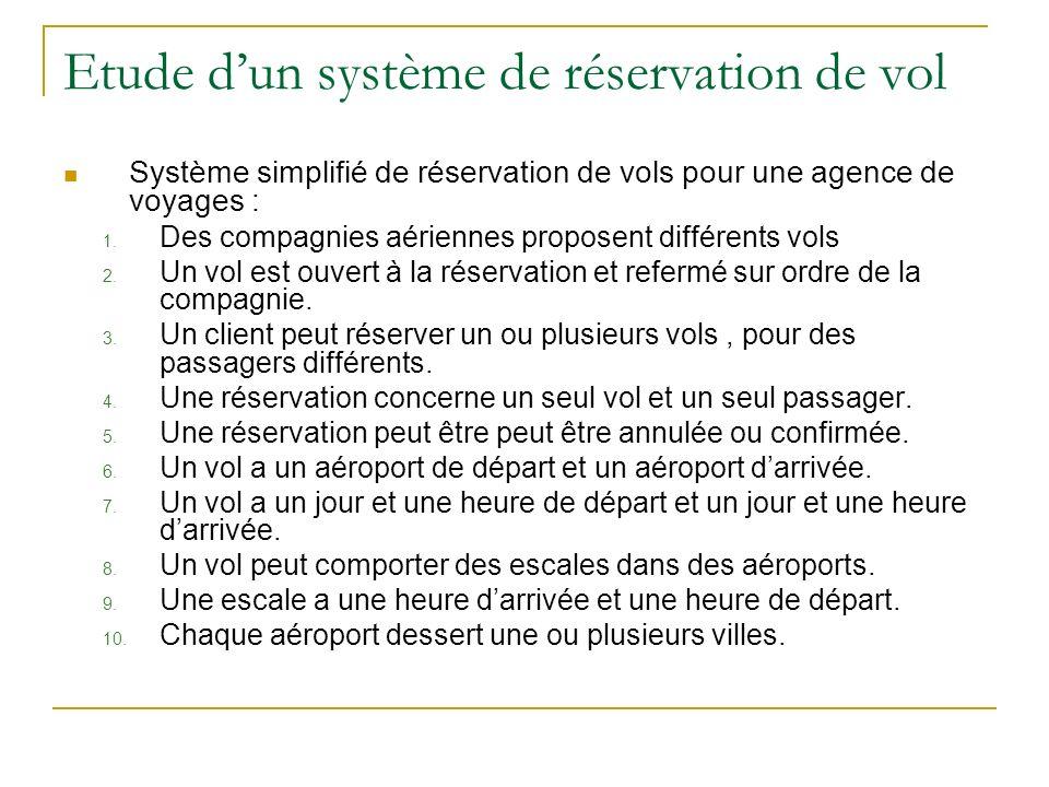 Etude d'un système de réservation de vol