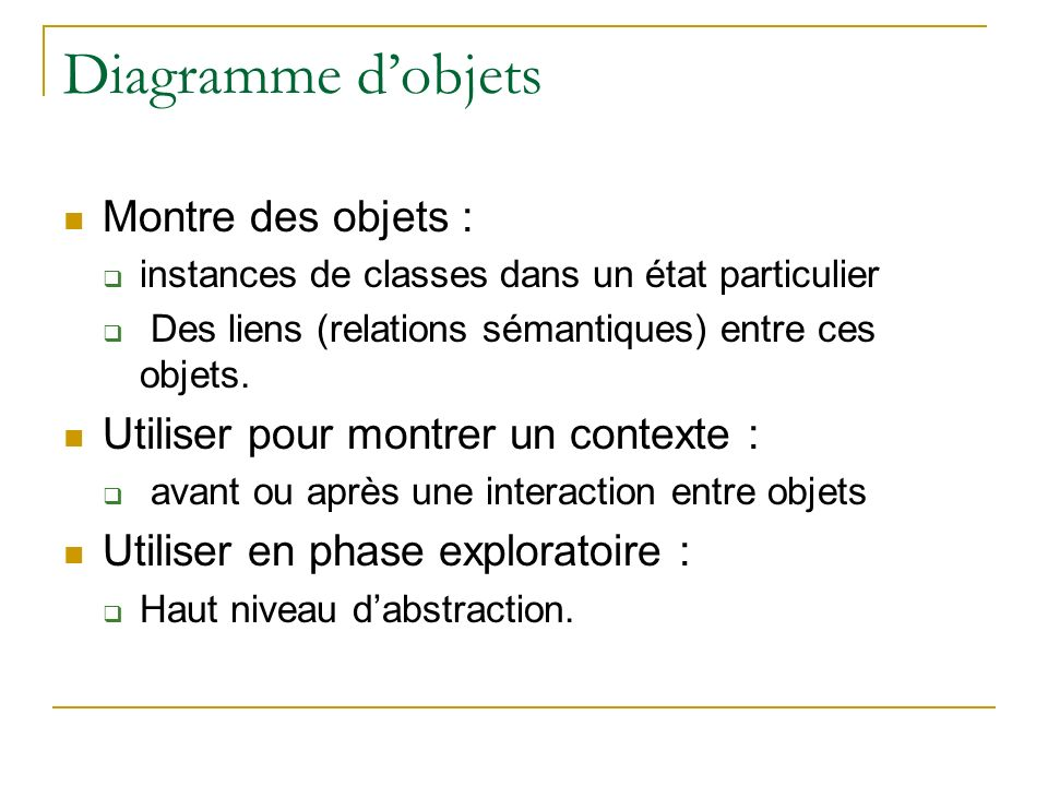Diagramme d'objets Montre des objets :