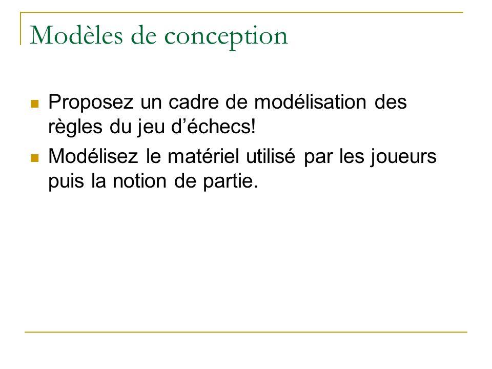 Modèles de conception Proposez un cadre de modélisation des règles du jeu d'échecs!