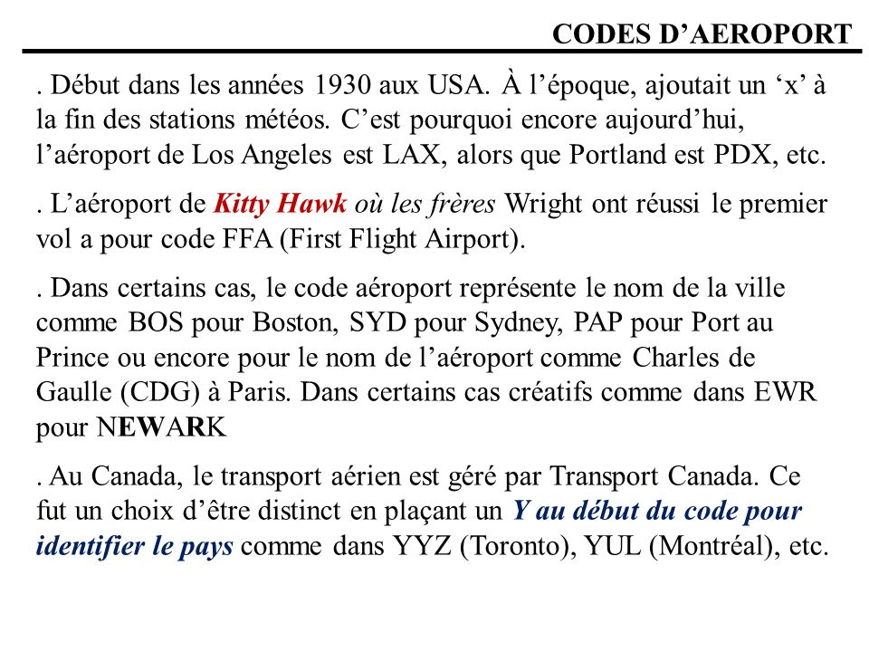 CODES D'AEROPORT