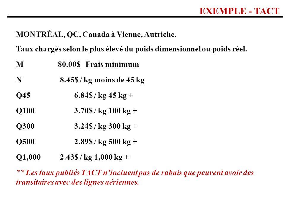 EXEMPLE - TACT MONTRÉAL, QC, Canada à Vienne, Autriche.