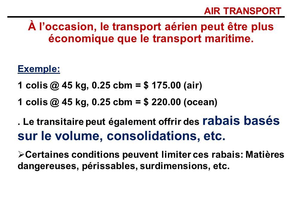 AIR TRANSPORT À l'occasion, le transport aérien peut être plus économique que le transport maritime.