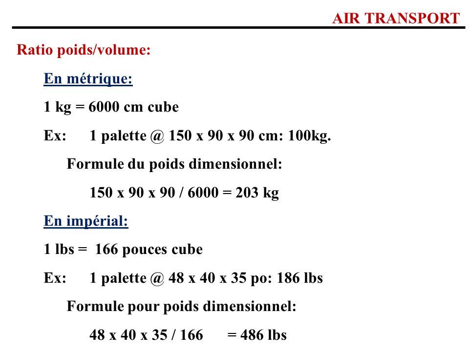 AIR TRANSPORT Ratio poids/volume: En métrique: 1 kg = 6000 cm cube. Ex: 1 palette @ 150 x 90 x 90 cm: 100kg.