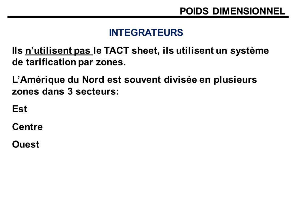 POIDS DIMENSIONNEL INTEGRATEURS. Ils n'utilisent pas le TACT sheet, ils utilisent un système de tarification par zones.