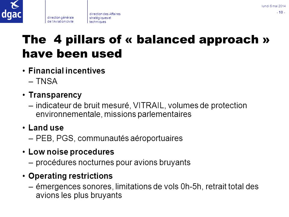 The 4 pillars of « balanced approach » have been used