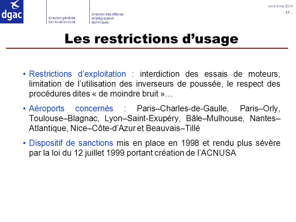 Les restrictions d'usage