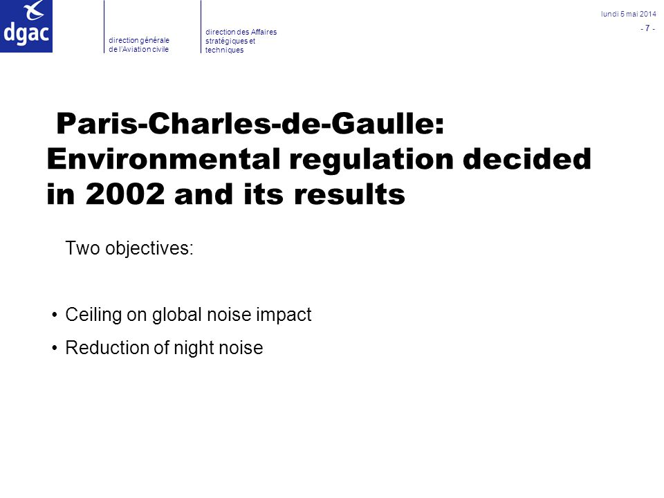 Paris-Charles-de-Gaulle: Environmental regulation decided in 2002 and its results