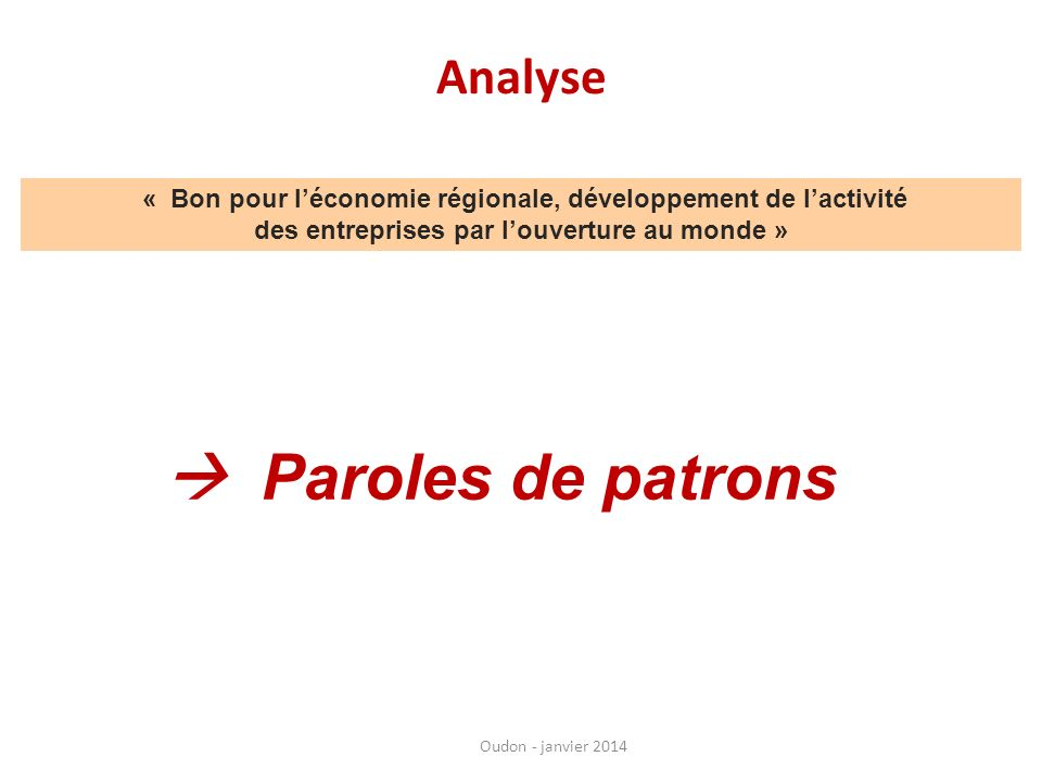  Paroles de patrons Analyse