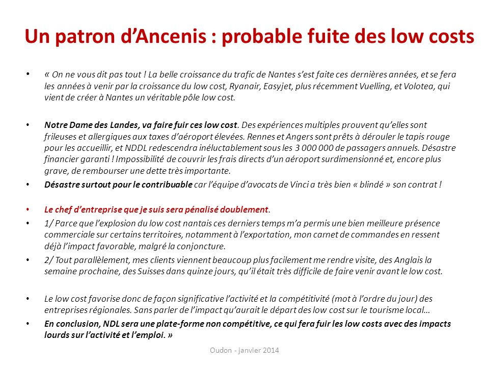 Un patron d'Ancenis : probable fuite des low costs