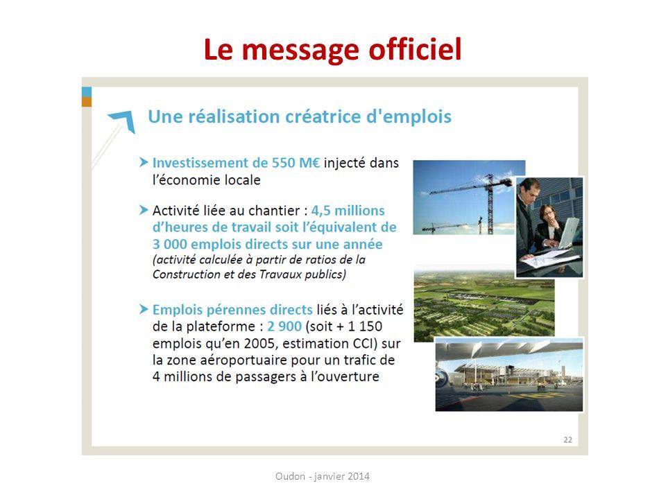 Le message officiel Extrait d'une présentation d'AGO de fev 2013, diapo concernant l'emploi.