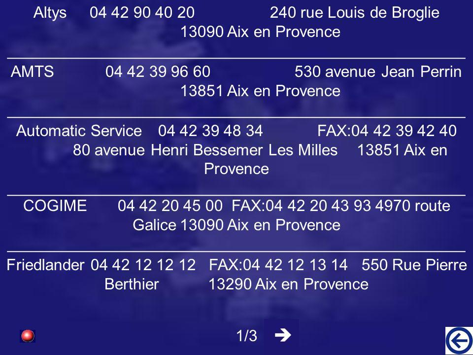 Altys 04 42 90 40 20 240 rue Louis de Broglie 13090 Aix en Provence