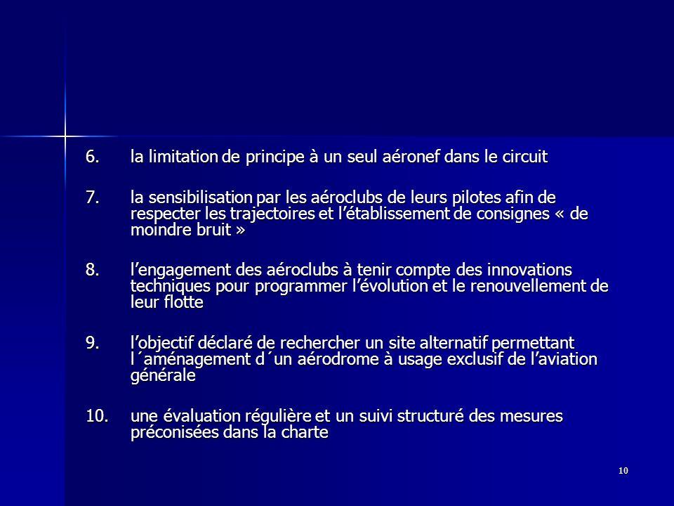 6. la limitation de principe à un seul aéronef dans le circuit