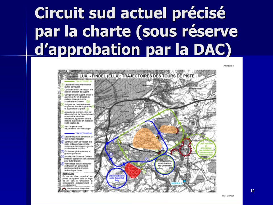 Circuit sud actuel précisé par la charte (sous réserve d'approbation par la DAC)