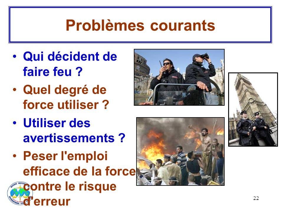 Problèmes courants Qui décident de faire feu