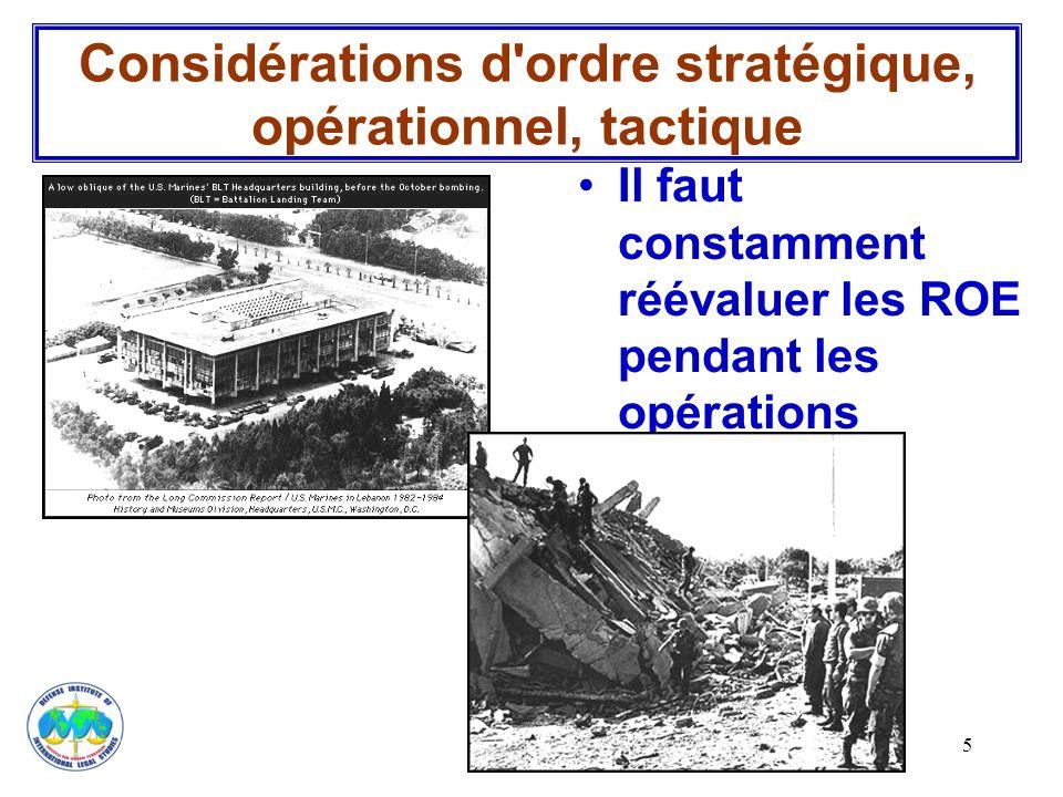 Considérations d ordre stratégique, opérationnel, tactique