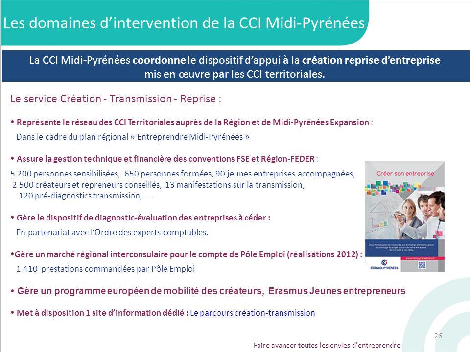 Les domaines d'intervention de la CCI Midi-Pyrénées